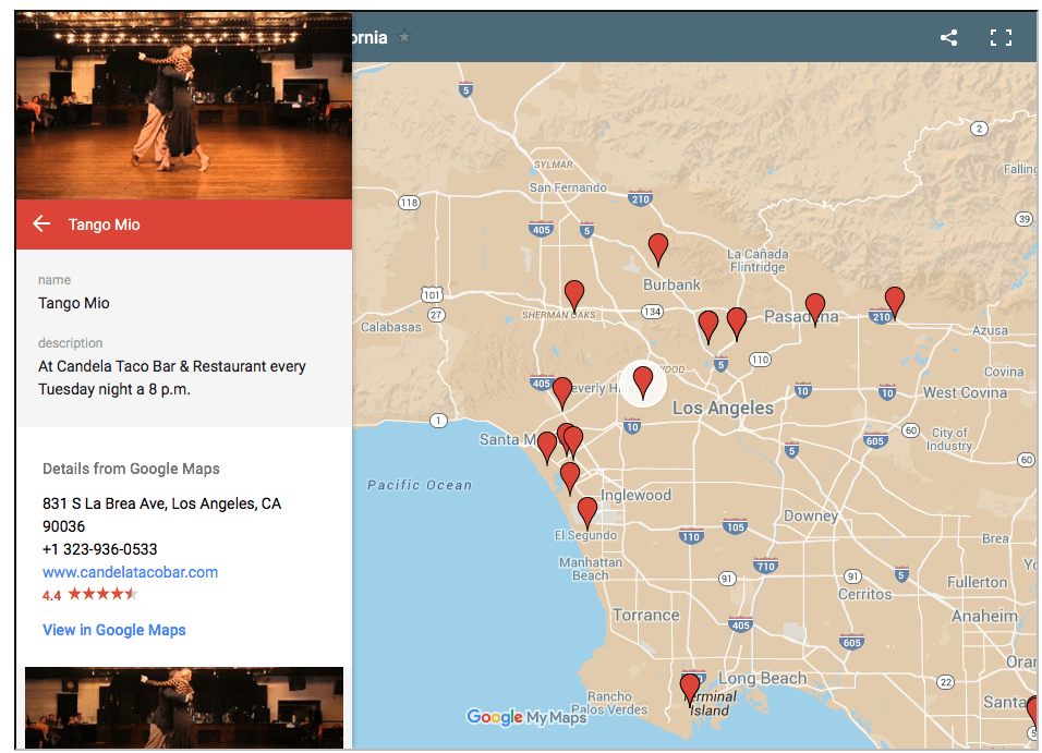 Los Angeles Tango Map, milongas, practicas