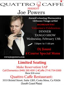 Milonga at Quattro Caffe-Performance By Joe Powers